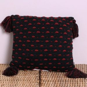 NEW Hearth & Hand Red Black Knit Tassel Pillow